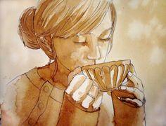 artwork of a coffee drinker. artwork of a coffee drinker. Coffee Artwork, Coffee Cup Art, Coffee Painting, Coffee Girl, Coffee Drawing, Cafe Art, Tea Art, Coffee Drinkers, Watercolor Paintings