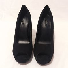 Black Faux Suede Peep-toe Pumps  Classic Faux Suede Peep-toe Pumps. Selling because it's quite small for me. Worn 2 times. (Too make sure it wasn't small but it was )  The type of show you can use with everything!   Perfect condition!✅  ♦️Reasonable offers are welcomed. Make an offer!  Forever 21 Shoes Heels