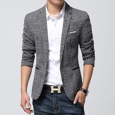 NEW Mens Fashion Slim Fit Blazers Spring Suit Casual Clothes Coats Jackets Blazer Outfits Men, Mens Fashion Blazer, Casual Outfits, Casual Clothes, Men Blazer, Blazer Jeans, Men Clothes, Blazers For Men Casual, Casual Blazer