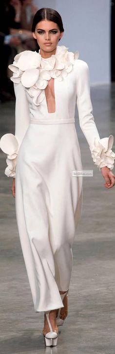 Stephane Rolland SS HC 2013-14 | white | long-sleeves | silicone flower ornament | high fashion