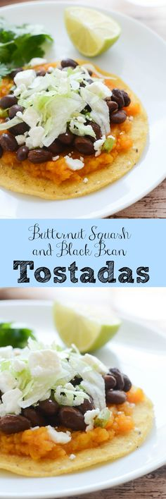 Butternut Squash and Black Bean Tostadas - delicious meatless recipe! Butternut squash and black beans make the most delicious combo!