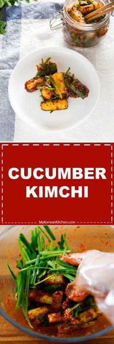 Cucumber Kimchi (Oi Kimchi). It's light, crunchy and flavorful. It's a perfect summer kimchi!   MyKoreanKitchen.com via @mykoreankitchen