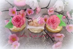 Baby Shower cupcakes Edible baby and roses cupcakes