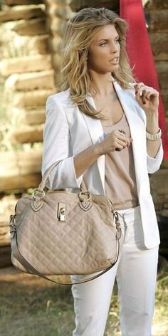White suit with nude shirt and bag.. love her!