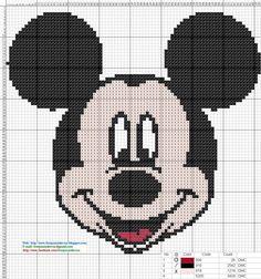 Mickey Mouse - Cross Stitch Punto de Cruz 15 x 16 centímetros 82 x 88 puntos 3 colores DMC