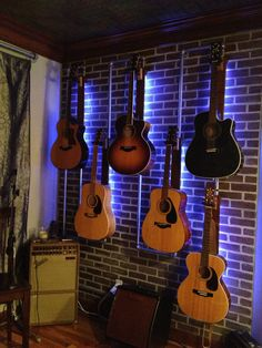Music Room - Guitar mount - galvanized pipe - faux brick - faux tin - great acoustic - warehouse feel - historic - design by Monica Robinson