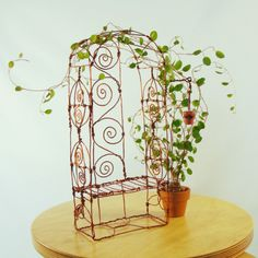 Copper Arbor Bench Wire Sculpture by sparkflight on Etsy, $75.00