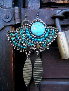 Bead Embroidery Earring turquoise Anita Nestorovska Design - fb fan page  https://www.facebook.com/AniDandelionBeadedEmbroideryJewelryDesigns?ref=hl