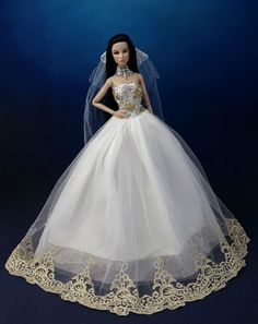 Fashion Princess Party Dress Wedding Clothes Gown+Veil For Barbie Doll K02B 0921b93c82a5