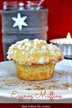 Eggnog Muffins - Lady Behind The Curtain Can't wait to make these and bring to work!  Tim and I love egg nog!