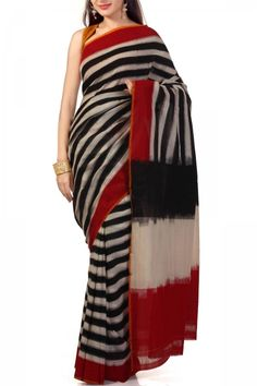 Black & Red Striped Cotton Ikat Saree