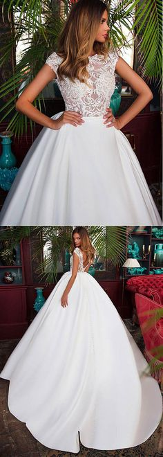 Romantic Tulle & Satin Bateau Neckline See-through Bodice Ball Gown Wedding Dress With Beaded Lace Appliques