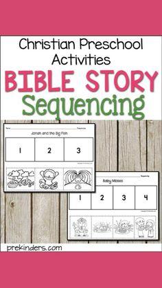 Preschool Bible, Bible Activities, Preschool Activities, Preschool Assessment, Preschool Worksheets, Sunday School Lessons, Tot School, Christian Preschool, Story Sequencing