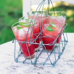 Melounovo-okurková limonáda Canapes, Healthy Drinks, Watermelon, Smoothie, Strawberry, Food And Drink, Appetizers, Fruit, Recipes