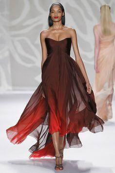 Minique Lhuillier   Chocolate/poppy ombré iridescent silk chiffon strapless hi-low gown - RTW, SS 2014