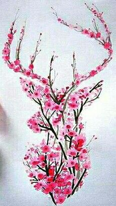 Watercolor Cherry Blossom Deer