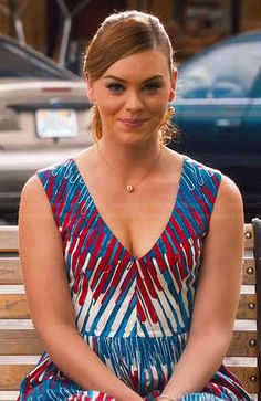 AnnaBeth's red, white and blue printed v-neck dress on Hart of Dixie.  Outfit Details: http://wornontv.net/46238/ #HartofDixie
