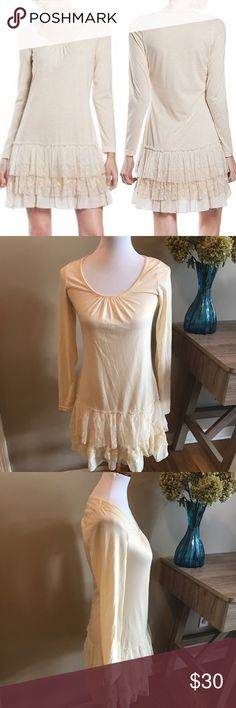 """a'reve from Anthropologie Long Sleeve Ruffle Dress Excellent Condition a'reve from Anthropologie long sleeve ruffle dress. Super comfortable and versatile! Approximate measurements laying flat: armpit to armpit 15"""", total length 33.5"""", sleeve length 23"""". 👗👛👠👙👕Bundle & Save! Anthropologie Dresses Long Sleeve"""