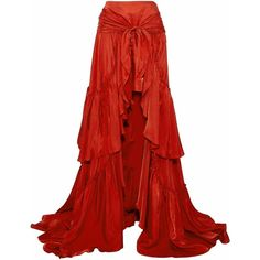 CINQ À SEPT   Ruffled tiered satin maxi skirt ($410) ❤ liked on Polyvore featuring skirts, asymmetrical skirts, red pleated maxi skirt, tiered ruffle maxi skirt, maxi skirt and long pleated skirt