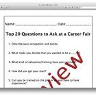 Teachers and counselors can use this tool to prepare students for an upcoming career or college fair by providing them with the most important ques...
