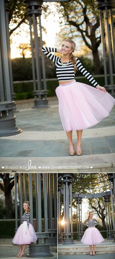 Prom 2016 dress, hair, and makeup inspiration featuring a pink tulle skirt + striped crop. A fun, chic alternative to the traditional prom dress! | Love, Me Photography | www.lovemephotography.com | Hair + Makeup by The Styling Stewardess