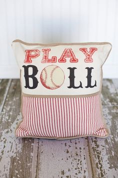 Play Ball Baseball Decorative Pillow Cover. $48.00, via Etsy.