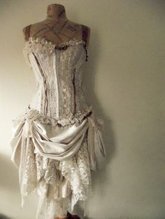 ❥ beautiful old mannequin and vintage corset
