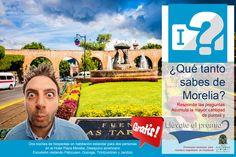 Tu próxima visita a #Morelia completamente gratis! Responde las preguntas que estarán apareciendo durante el día 20 de agosto del 2014 en nuestro fan page y gana increíbles premios! #SéBienvenidoAquí