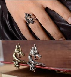 Free just Just cover S/H  - Charms Punk Fashion Exaggerated Rings for Men and Women Vintage Retro Dragon Ring Jewelry