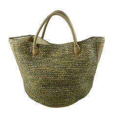 Large raffia leather basket bag