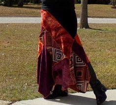 M/L  Tie Dye Hippie Patchwork Skirt by LiveLegendaryThreadz