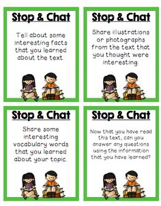 Close Reading (Sample Page) Stop & Chat cards are used for students to discuss the books they are reading.  Partner reading/book discussions with a purpose!