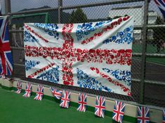 Union flag made of handprints of Seoul Foreign British School kids for Her Majesty's Diamond Jubilee