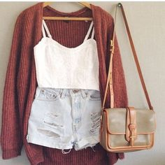 probably wouldn't wear the spaghetti straps, but I like the sweater and purse. | bleached jeans short + old red cardigan
