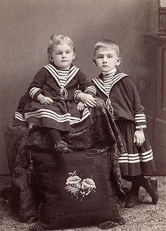 Victorian children in sailor clothes