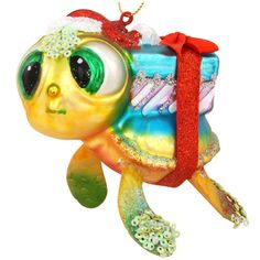 Turtle With Gifts Glass Ornament