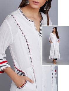 White Embroidered Cotton Kurta with Black Pants - Set of 2 Simple Kurti Designs, Salwar Designs, Kurta Designs Women, Dress Neck Designs, Blouse Designs, Kurta Patterns, Kurta Neck Design, Indian Designer Suits, Mode Hijab