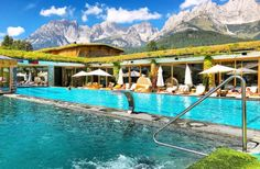 Two of the many pools at Stanglwirt Hotel