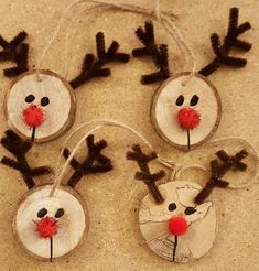 Wooden Reindeer Ornaments Wooden Reindeer Ornaments, tree limb, jute, chenille stems to sell kids christmas Kids Christmas Ornaments, Christmas Wood, Christmas Crafts For Kids, Xmas Crafts, Simple Christmas, Christmas Projects, Christmas Crafts For Kindergarteners, Christmas Tree Decorations For Kids, Kindergarten Christmas Crafts