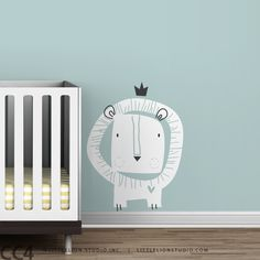 Kids wall decal lion king crown yellow white gold little lion baby nursery decal - Baby Zoo Lion King. $49.00, via Etsy.