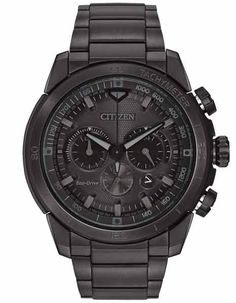 Citizen Eco-Drive Mens Ecosphere Chrono- Black Case - Black Dial - Tachymeter