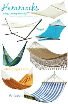 Hammocks for the Porch and the Backyard! Featured on BBL: http://beachblissliving.com/hammock/