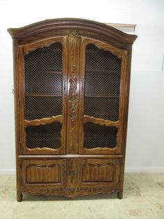 Vintage Thomasville Carved Country French Dome Top China Cabinet Breakfront