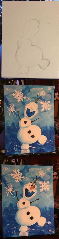 Olaf canvas painting diy. Paint background first then Olaf!