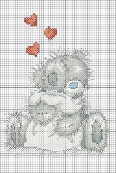 Xmas Cross Stitch, Cross Stitch Heart, Counted Cross Stitch Patterns, Cross Stitch Designs, Cross Stitching, Cross Stitch Embroidery, Tatty Teddy, Cross Stitch Pictures, Crochet Cross