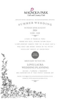 Summer Wedding Fair!! Taking place this Sunday at Magnolia Park! FREE Entry! #Oxfordshire #Buckinghamshire #Weddings