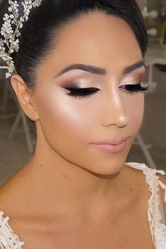 Bright Wedding Makeup Ideas For Brunettes ❤ See more: www. Bright Wedding Makeup Ideas For Brunettes ❤ See more: www.weddingforwar… Bright Wedding Makeup Ideas For Brunettes ❤ See more: www. Wedding Eye Makeup, Wedding Makeup For Brunettes, Wedding Makeup Looks, Bridal Hair And Makeup, Wedding Beauty, Makeup For Brides, Bridal Smokey Eye Makeup, Wedding Smokey Eye, Romantic Wedding Makeup