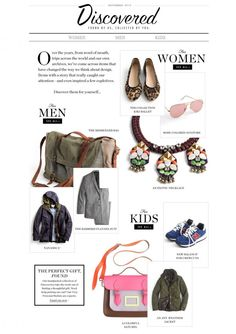 J-Crew Discovered Web experience is a good example of engaging editorial content in a shopping environment