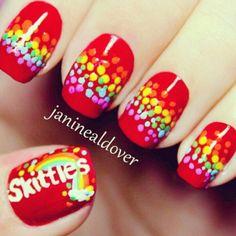 #Nails #NailDesign #Skittles #Silly #Fun #Fruity