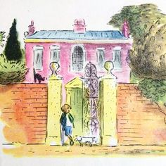 Ardizzone.  Paul lived with his father and mother in a pretty house.  Lithograph from Paul, the Hero of the Fire, a Porpoise book from 1948, commissioned by Grace Hogarth, who also commissioned his first Tim book. #Ardizzone #edwardardizzone #paultheheroofthefire #prettyhouse #porpoisebook